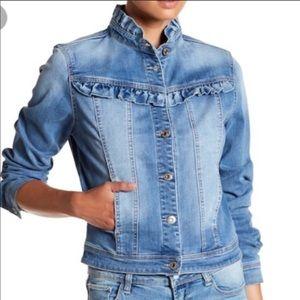 Kensie ruffle denim jean jacket Sz S